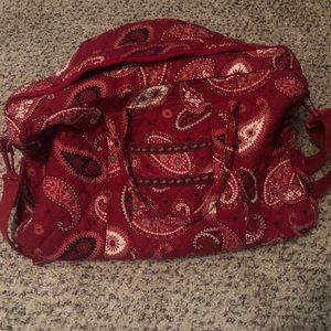 Vera Bradley red overnight bag